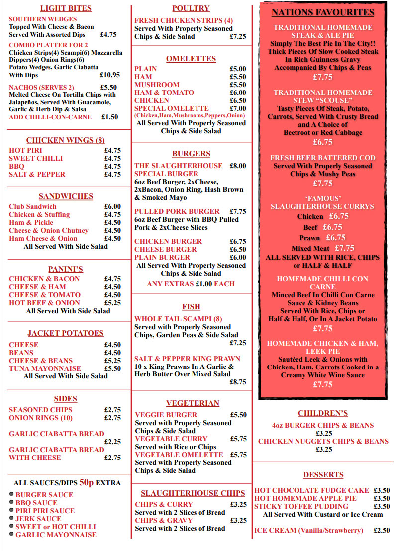 The Slaughter House Menu